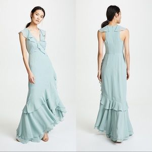C/MEO Be About You Ruffle Sage Maxi Wrap Dress